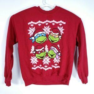 Gildan Mens M Red Ugly Christmas Sweater Ninja